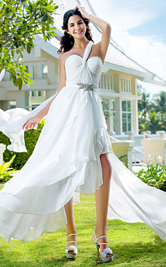 A-line One Shoulder Asymmetrical Chiffon Wedding Dress