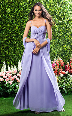 Sheath/Column Sweetheart Spaghetti Straps Floor-length Chiffon Bridesmaid Dress