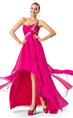 Sheath/Column One Shoulder Asymmetrical/Watteau Train Chiffon Evening Dress