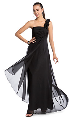A-line One-shoulder Floor-length Chiffon Evening Dress