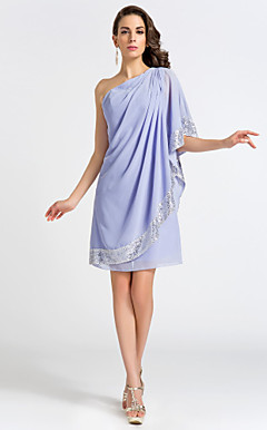 Sheath/Column One Shoulder Knee-length Chiffon Cocktail Dress