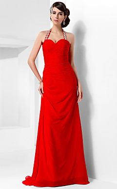 Sheath/Column Halter Asymmetrical Chiffon Evening Dress