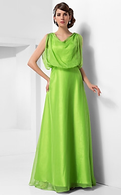 A-line Cowl Floor-length Chiffon Evening Dress