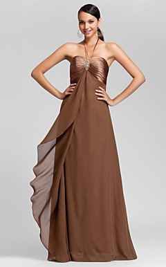 Sheath/Column Halter Floor-length Chiffon And Stretch Satin Bridesmaid Dress