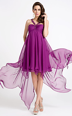 A-line Straps Asymmetrical Chiffon Cocktail Dress