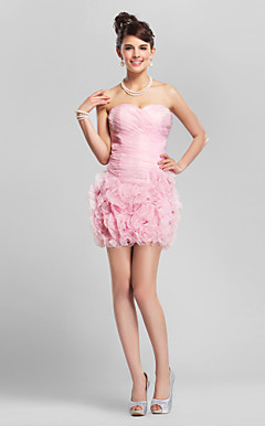 Sheath/Column Sweetheart Short/Mini Organza Bridesmaid Dress