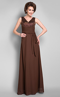 Sheath/Column V-neck Floor-length Chiffon Mother of the Bride Dress With Removable Belt