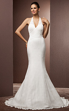 Trumpet/Mermaid Halter Court Train Lace Wedding Dress