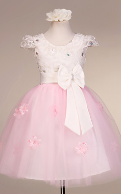 Lovely Short Cap Sleeve Tulle / Satin Wedding / Evening Flower Girl Dress