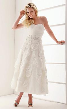 الجملة الجملة فستان الزفاف في الكاحل خط طول الأورجانزا حبيبته حمالة مع الكريستال بالتفصيل وزهرة