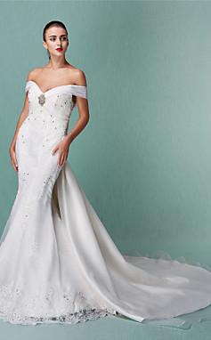 الجملة الجملة البوق / حورية البحر خارج على الكتف الأورجانزا أكثر من الساتان فستان الزفاف