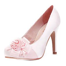 cetim superior salto alto fechado-pés com sapato flor da moda (0985-hk001)