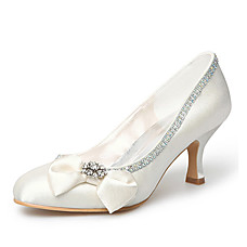 Satin Upper Mid Heel Closed-toes With Satin Flower/ Rhinestone Wedding Bridal Shoes