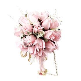 elegante ronda rosa ramo de boda / ramo de novia con la decoración de gasa de cuentas (0797-sim026)