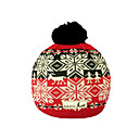 SAMII Jacquard Argyle Knit Beanie Hat-Red + Black (0025) (Start From 20 Units)-Free Shipping
