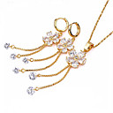 Yellow Gold Gemstone Cubic Zircon Flower Pendant+Earring Set (SZF-0014)