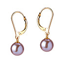 14k Gold Lavender 7.5 - 8mm AAAA Freshwater Pearl Earring DSZZ076 (Start From 5 Units) Free Shipping