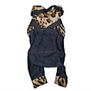 Fleece Leopard Print T-Shirt Top With Jean Overalls (BV048)