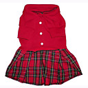 Red Dog Dress With Plaid Ruffle(BV046)