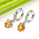 White Gold Plated Heart Cubic Zircon Drop Earring (ERS002-Orange) (Start From 3 Units) Free Shipping