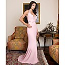 Column Straps Court Train Satiny Prom / Evening Dress (HSX791) (Start From 3 Units) Free Shipping