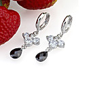 Platinum Cubic Zirconia Drop Earring - Cubic Zirconia Earring SYX-0325 Black (SZY976)