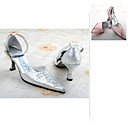 Satin upper Medium Heel Pumps Closed-toes with Stitching Lace Wedding Bridal Shoes (25A673)