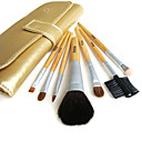 5 Sets Mixed Hair Cosmetic Brush Setes With Free Golden Leather Case