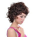 Capless Short Synthetic Light Brown Curly Hair Wig