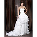 A-line Sweetheart Sweep/ Brush Train Satin Organza Tiered Wedding Dress