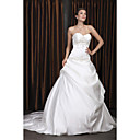 Ball Gown Sweetheart Court Train Satin Pick-up Wedding Dress