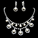 Gorgeous Clear Crystals and Imitation Pearls Wedding Bridal Jewelry Set (TL0208)