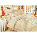 6-pc Luxury Beige Jacquard Cotton Full Size Duvet Cover Set - Free Shipping (0586-FZ006)