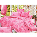 6-pc Luxury Pink Jacquard Cotton Full Size Duvet Cover Set - Free Shipping (0586-FZ010)