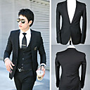 Men's Black 1-Button Slim Wool Leasure Suit (LGT1110-14)