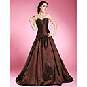 A-line Strapless Sweep/ Brush Train Taffeta Prom Dress (FSM0507)