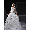 Princess Ball Gown V-neck Chapel Train Taffeta Wedding Dress With Beaded Embroidery