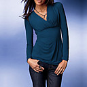 Long Sleeves V Neckline Cross-front Women's T-shirts(8501BA005-0780)