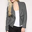 revers geplooide wollen blazer van vrouwen blazers (0101ba006-0677)