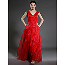 A-line V-neck Floor-length Organza Matte Satin Mother of the Bride Dress