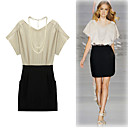 RUNWAY Short Sleeves Round Neckline Double Colors Women's Dresses(1801BD215-0853)