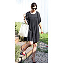 100% Cotton / Katies Holmes Style / Short Sleeves Round Neckline Loose Gathered Dress / Women's Dresses (FF-1802BE001-0853)