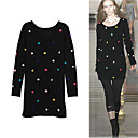 Colorful Dots Longline Round Neckline Long Sleeves Sweater/Inspired by RUNWAY Style/Women's Sweaters (FF-1001BE003-0751)