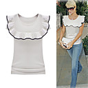 PARIS HILTON Style / Ruffles Short Sleeves Round Neckline T-shirt / Women's T-shirts (FF-8502BF002-0789)