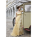 A-line One Shoulder Sweep/ Brush Train Elastic satin Tulle  Beading Quick Delivery Dress(OFGC515)