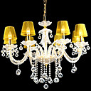 abajur amarelo candelabro de cristal da vela 6-luz k9 (0944-hh11003)
