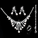 Gorgeous CZ Cubic Zirconia Wedding Bridal Jewelry Set(Including Necklace,Earing,Ring,Bracelet)(0986-jybs 005)