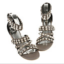 Real Leather Upper Low Heels Open-toes With Rhinestone Fashion Shoe(0985-K159)