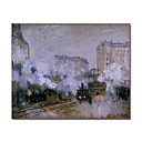 Handmade Exterior of Saint Lazare Station, Arrival of a Train painting by Claude Monet Stretched Ready to Hang(0192-YCF103444)