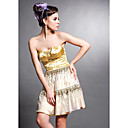 A-line Strapless Short/ Mini Sleeveless Elastic Silk-like Satin/ Tulle Quick Delivery Dress (OFGH481)
